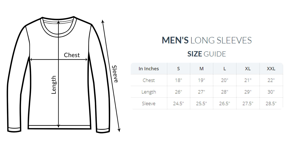 Men long sleeve size guide